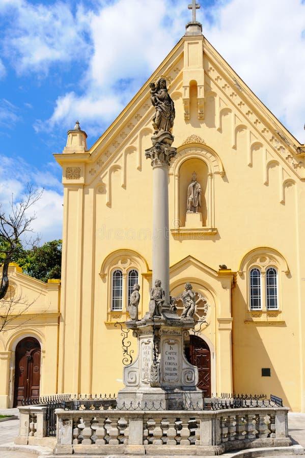 Iglesia de Bratislava Marian Column St Stephen fotografía de archivo