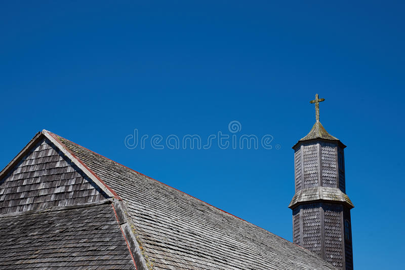 Iglesia de Colo. Historic wooden church, Iglesia de Colo, built in the 17th century by Jesuit missionaries on the island of Chiloe in Chile royalty free stock photography