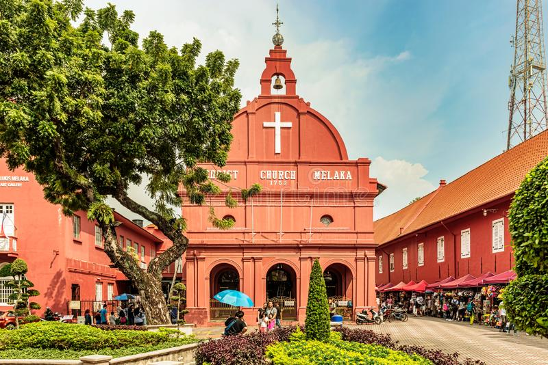 Iglesia de Cristo en el cuadrado holandés en Malaca, Melaka, Malasia fotos de archivo libres de regalías