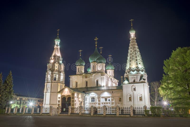 Iglesia de Elías el profeta en Yaroslavl Opinión de la noche imagen de archivo libre de regalías