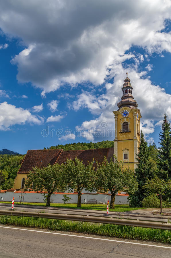 Iglesia de Jacobo del santo, Leoben, Austria fotografía de archivo