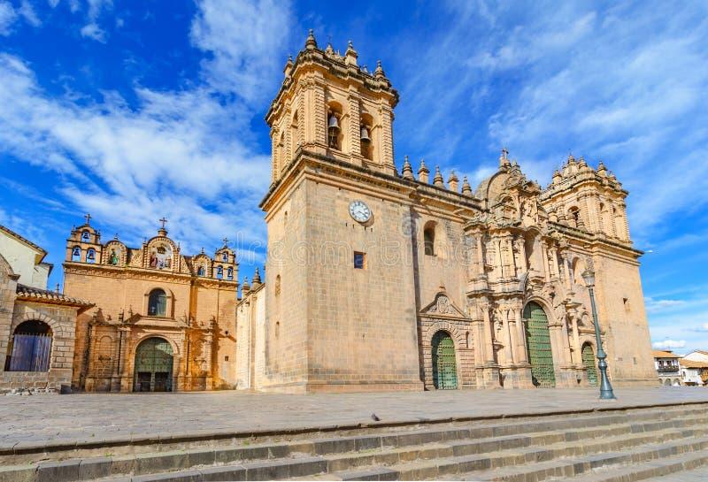 Iglesia de la catedral en la plaza de Armas Cuzco, Perú fotos de archivo