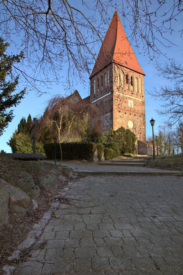 Iglesia de la escoria en Horst cerca de Greifswald, Mecklemburgo-Pomerania Occidental, Alemania imagen de archivo