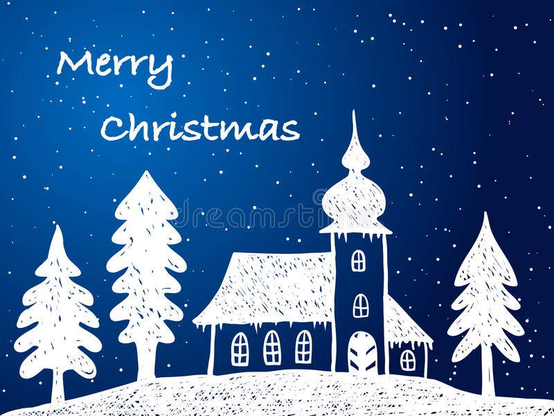 Iglesia de la Navidad con nieve en la noche ilustración del vector