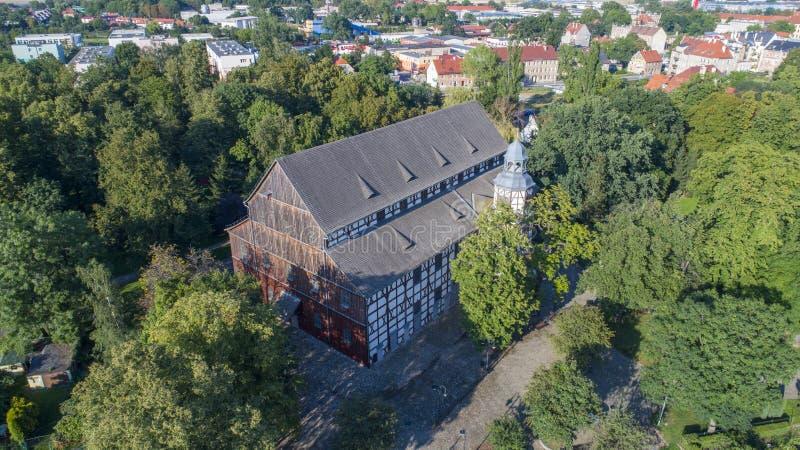 Iglesia de la paz en Jawor, Polonia, 08 2017, visión aérea foto de archivo