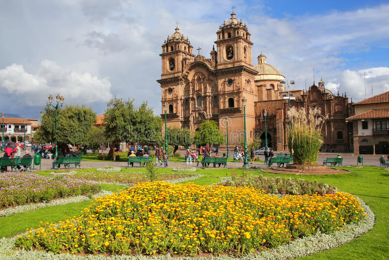Iglesia de la Plaza的de阿玛斯Compania德赫苏斯在库斯科,秘鲁 免版税图库摄影