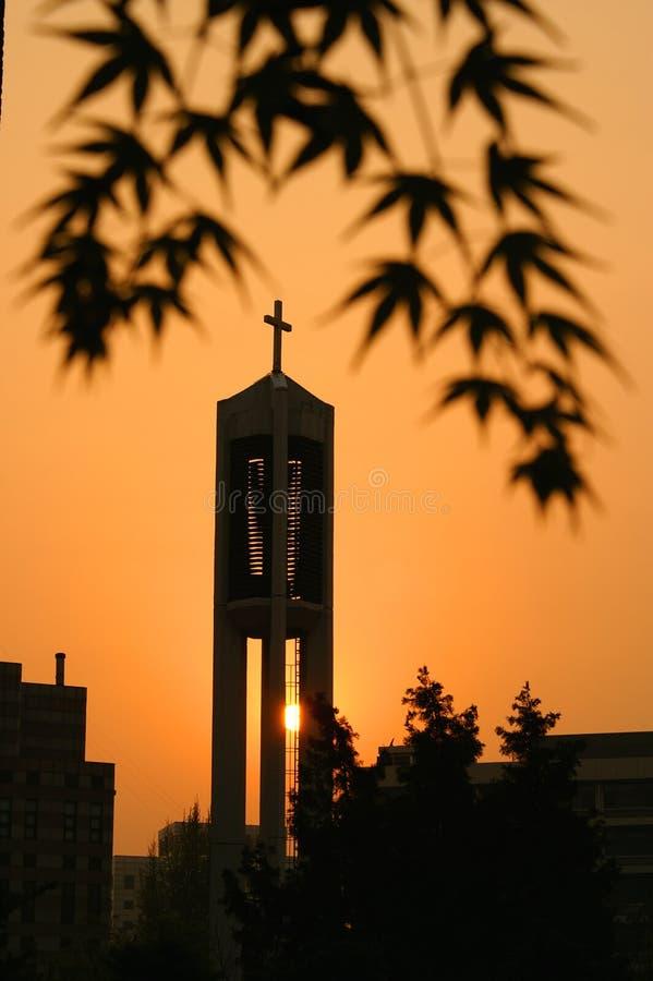 Iglesia de la puesta del sol fotos de archivo libres de regalías