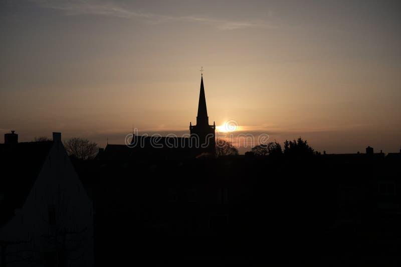 Iglesia de la puesta del sol imagenes de archivo