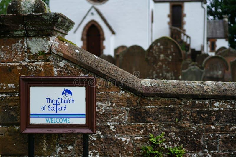 Iglesia de la señalización de Escocia foto de archivo libre de regalías