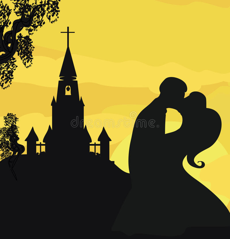 Iglesia de la sol y pares de la boda stock de ilustración