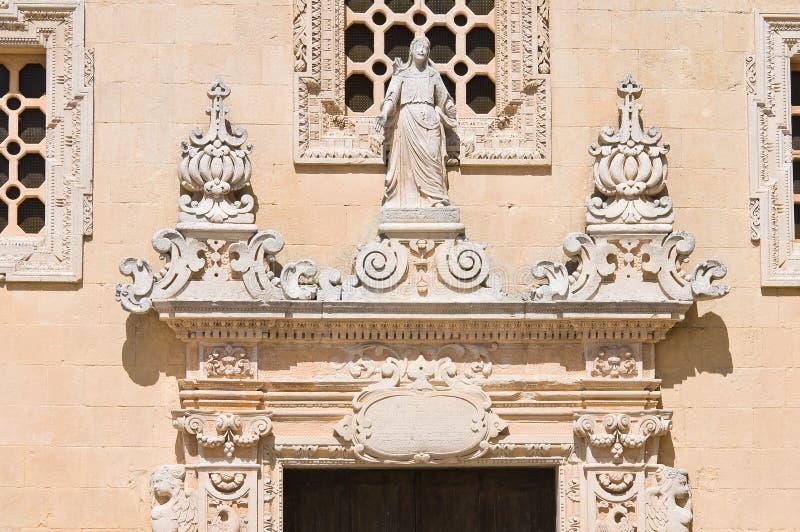 Iglesia de la suposición de la Virgen. Melpignano. Puglia. Italia imagenes de archivo