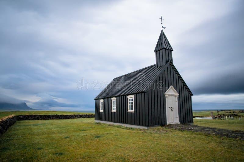 Iglesia de la tormenta de Islandia imagen de archivo libre de regalías