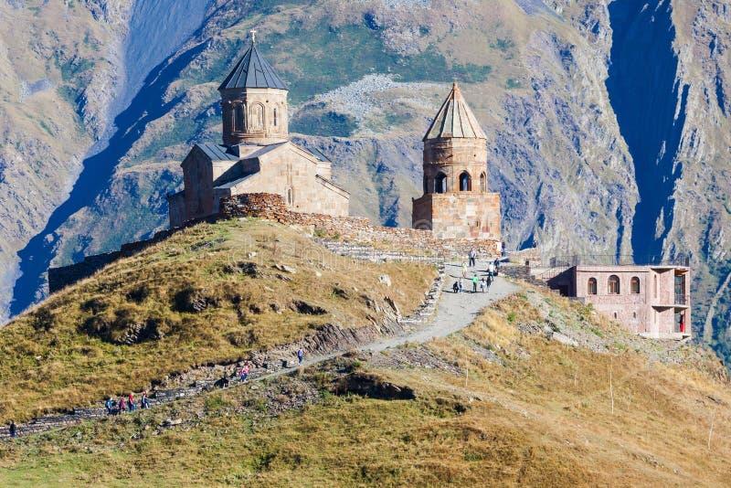 Iglesia de la trinidad de Gergeti imagen de archivo libre de regalías