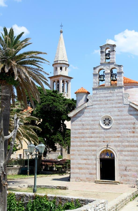 Iglesia de la trinidad santa, Budva, Montenegro fotografía de archivo