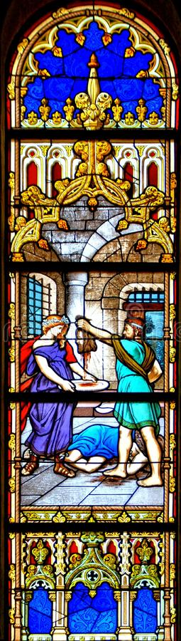 Iglesia de madre del vitral de Vila do Conde imagen de archivo