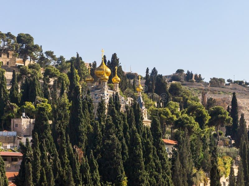 Iglesia de Maria Magdalena iglesia ortodoxa del siglo XIX, rusa con las cúpulas de oro y murales de Sergei Ivanov Jerusalén, Isra fotos de archivo