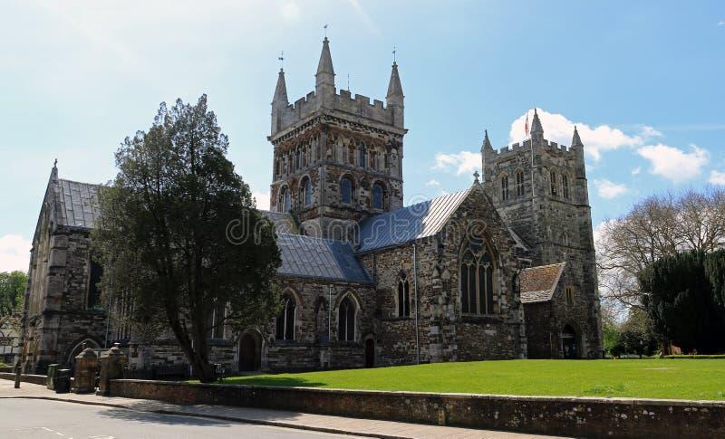 Iglesia de monasterio de Wimborne del camino imagen de archivo libre de regalías