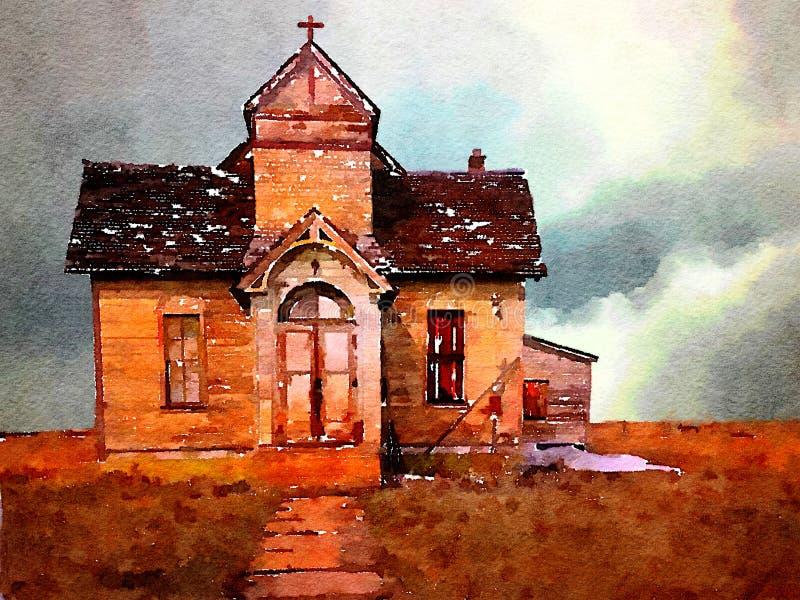 Iglesia de Morman en la nieve ilustración del vector