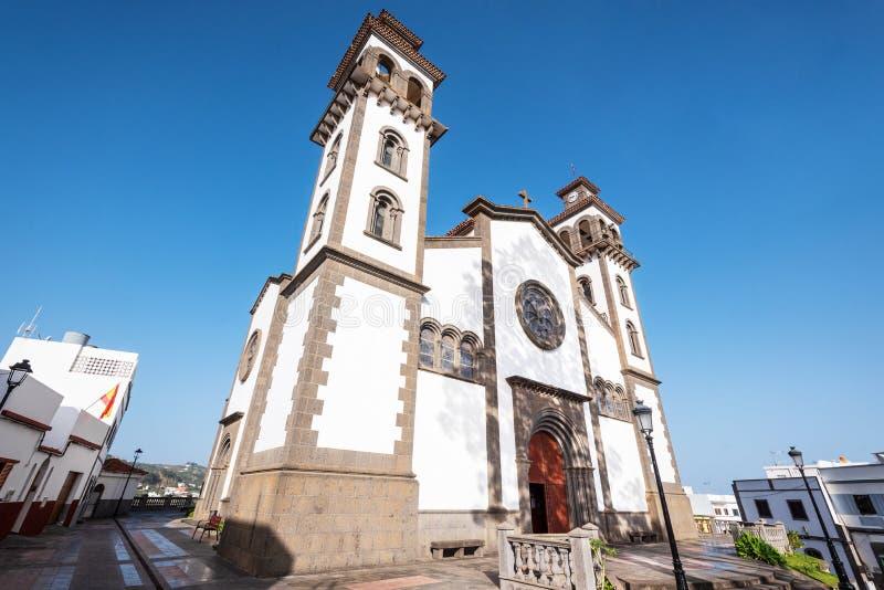 Iglesia de nuestra señora de Candelaria en Moya, canario magnífico, España imagenes de archivo