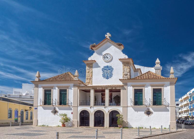 Iglesia de nuestra señora del rosario, Olhao, Portugal foto de archivo