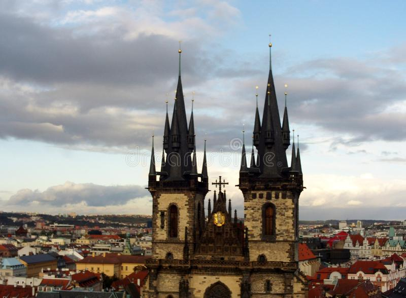 Iglesia de nuestra señora de Tyn, Praga foto de archivo