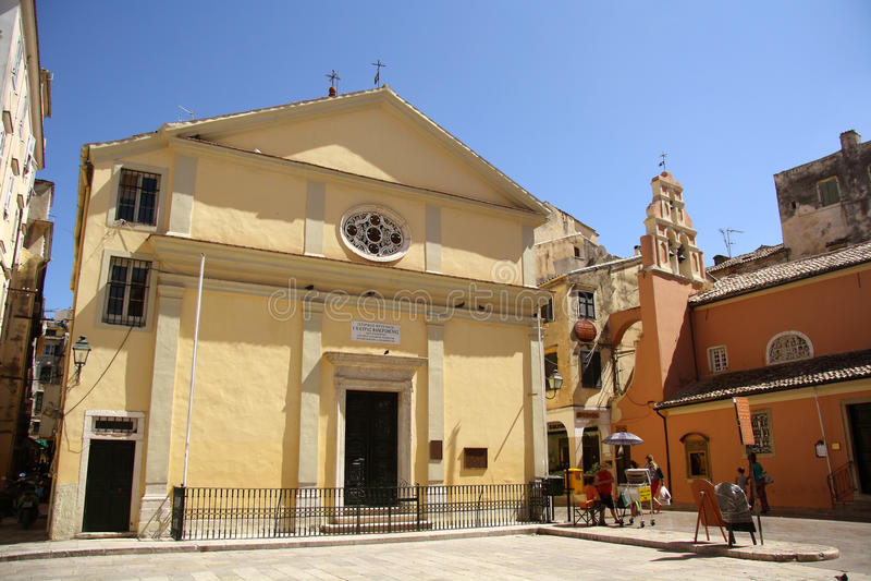 Iglesia de Panagia Faneromeni en la ciudad de Corfú (Grecia) foto de archivo libre de regalías