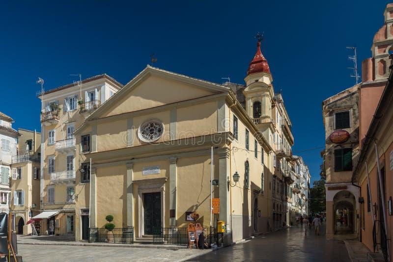 Iglesia de Panagia Faneromeni en la ciudad de Corfú (Grecia) fotografía de archivo