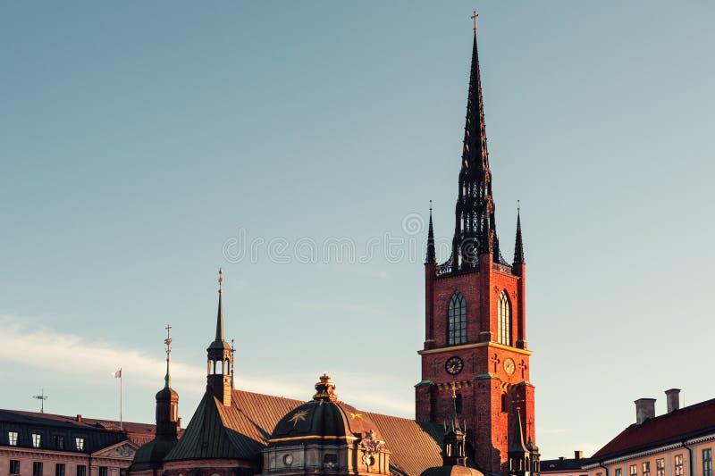 Iglesia de Riddarholmen en Gamla Stan, ciudad vieja en Estocolmo, Suecia fotos de archivo libres de regalías
