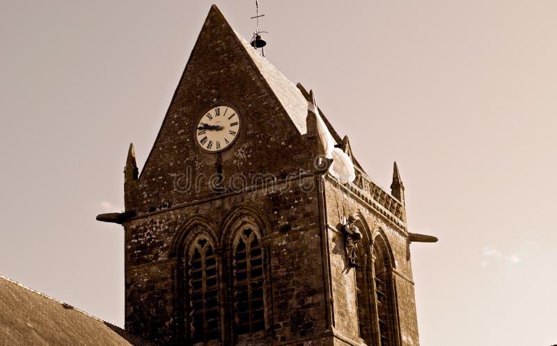 Iglesia de Sainte-Mère-Eglise foto de archivo