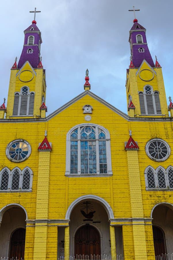 Iglesia de San Francisco en Castro, Chiloe en Chile imagenes de archivo