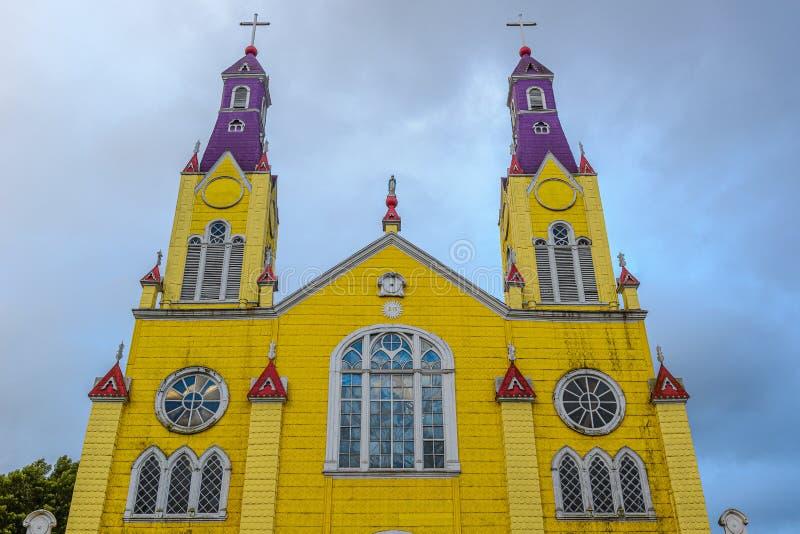 Iglesia de San Francisco en Castro, Chiloe en Chile fotos de archivo