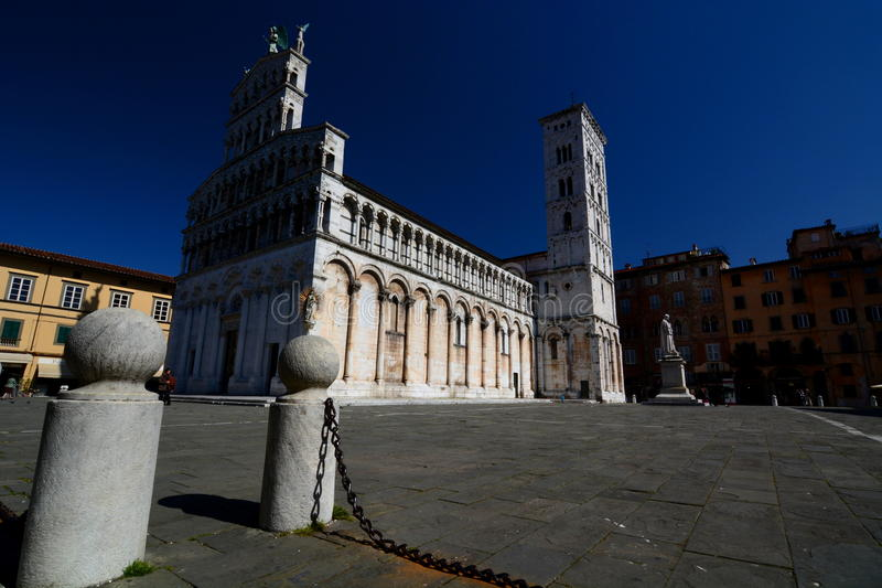 Iglesia de San Micaela in foro. Lucca, Toscana, Italia. imagen de archivo libre de regalías