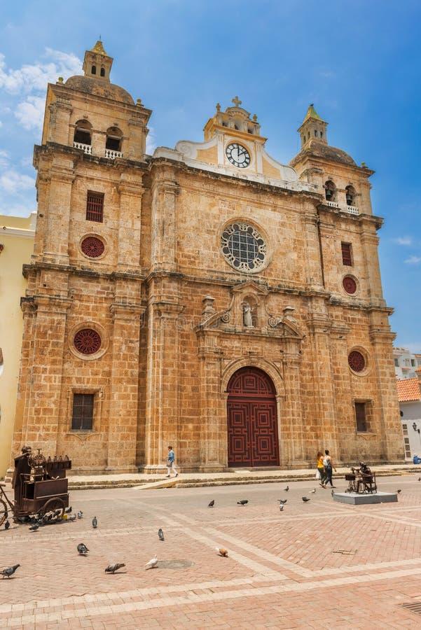 Iglesia de San Pedro Claver na parte histórica de Cartagena de Ind fotos de stock royalty free