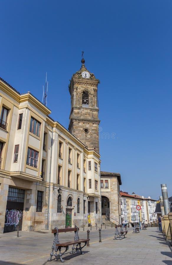 Iglesia de San Vicente en el centro histórico de Vitoria Gasteiz imágenes de archivo libres de regalías