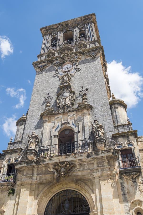 Iglesia de Santa Maria de la Asuncion, Arcos de la Frontera, Spai foto de archivo