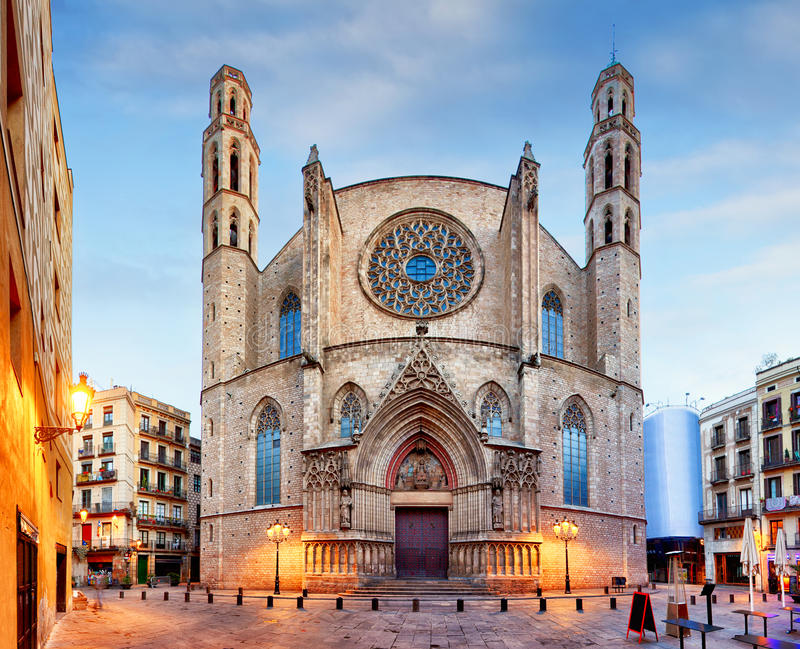 Iglesia de Santa Maria del Mar en Barcelona foto de archivo