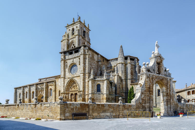 Iglesia de Santa Maria la Real, Sasamon, Spain stock photo