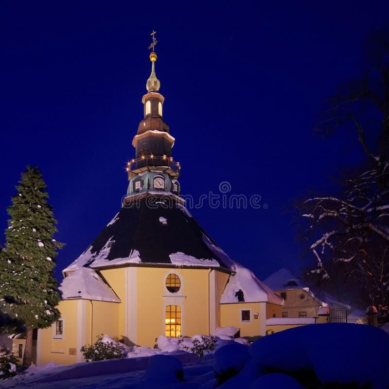 Iglesia de Seiffen en invierno fotografía de archivo
