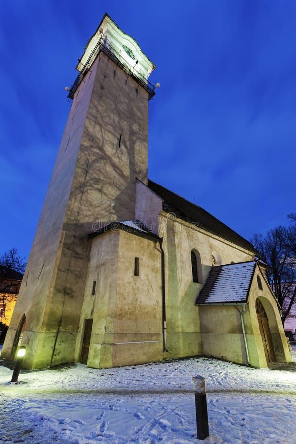 Iglesia de St Egidio en Poprad fotos de archivo libres de regalías