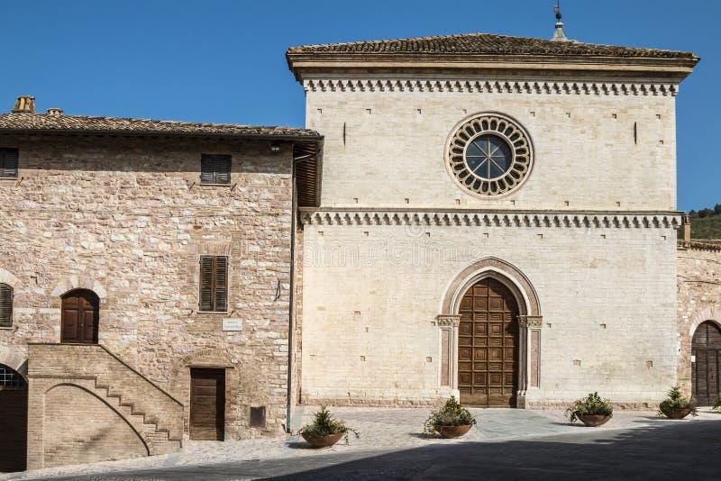 Iglesia de St Maria di Vallegloria en la ciudad de Spello fotografía de archivo libre de regalías