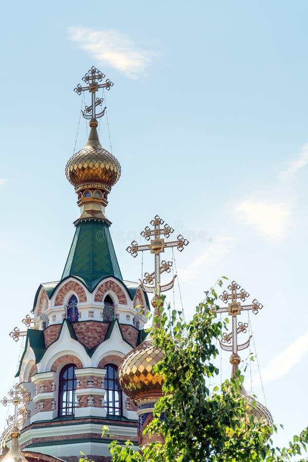 Iglesia de St Sergius de Radonezh en Chapaevsk fotos de archivo libres de regalías