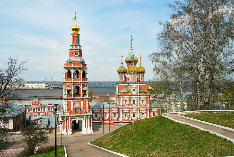 Iglesia de Stroganov en Nizhny Novgorod imagenes de archivo
