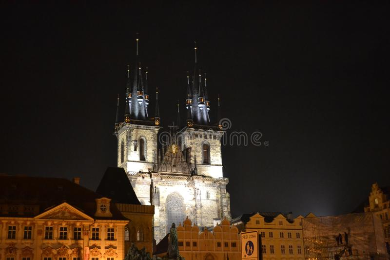 Iglesia de Tyn en Praga fotografía de archivo
