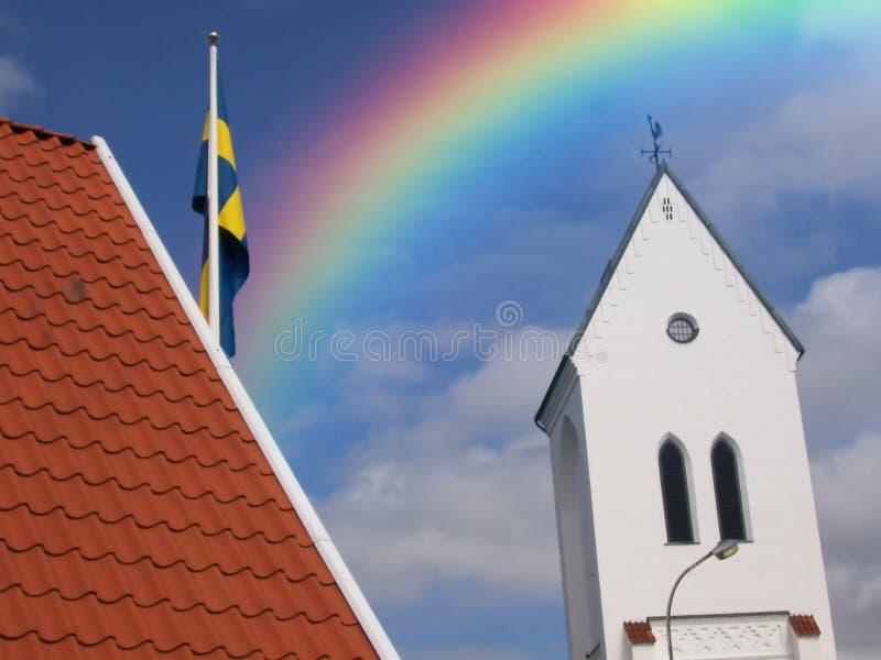 Iglesia del arco iris fotos de archivo