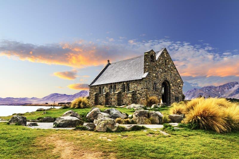 Iglesia del buen pastor, lago Tekapo imagen de archivo libre de regalías