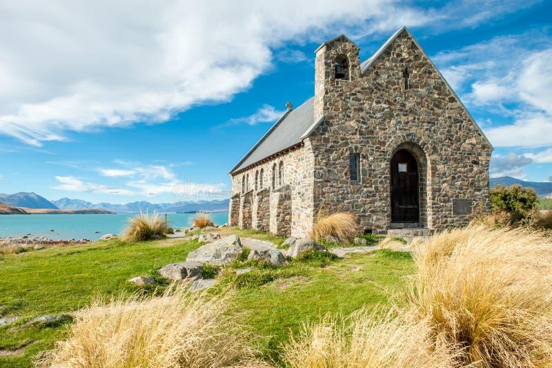 Iglesia del buen pastor, lago Tekapo, Nueva Zelanda fotografía de archivo