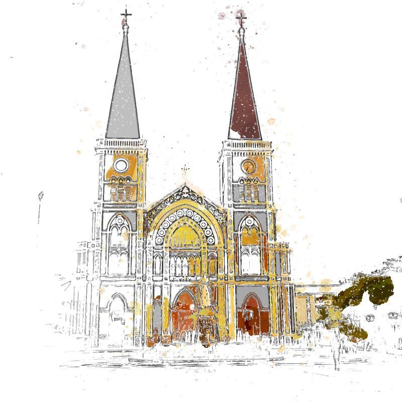 Iglesia del cristiano uno de la iglesia más popular de Tailandia ilustración del vector