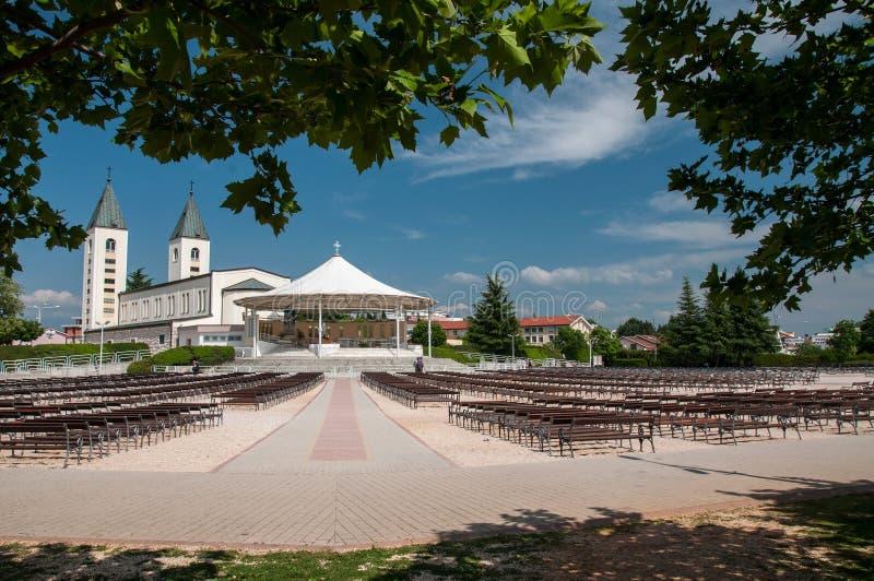 Iglesia del peregrinaje en Medjugorje foto de archivo libre de regalías