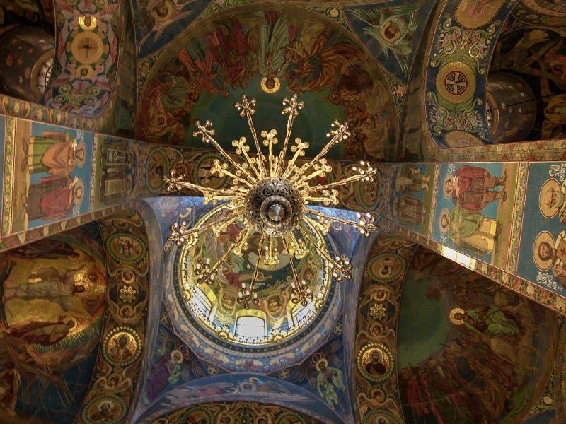 Iglesia del salvador en la sangre, interior de St Petersburg fotografía de archivo