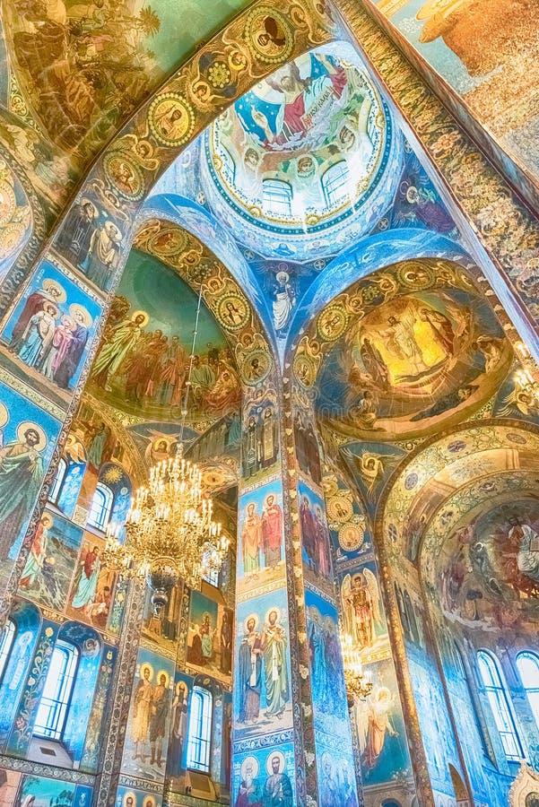 Iglesia del salvador en la sangre, interior, St Petersburg, Rusia foto de archivo